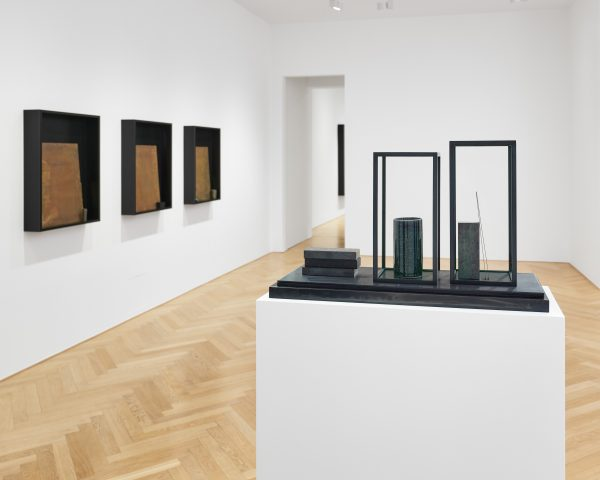 mnéma; ash, needle, pencil, match (installation view)